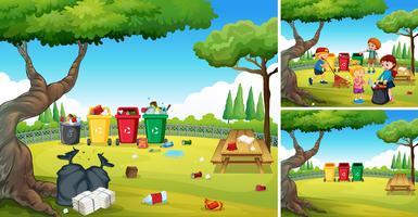 Volontärbarn hjälper till att städa parken