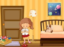 Mädchen, das oben in Schuluniform im Schlafzimmer ankleidet vektor