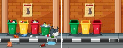 Före och efter rengöring smutsig gata