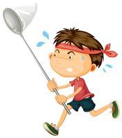 Junge läuft mit Insektennetz vektor
