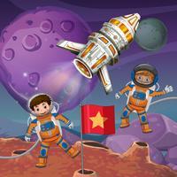 Två astronauter som flyger runt planetytan