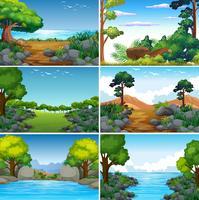 Set med vackert grönt naturlandskap vektor