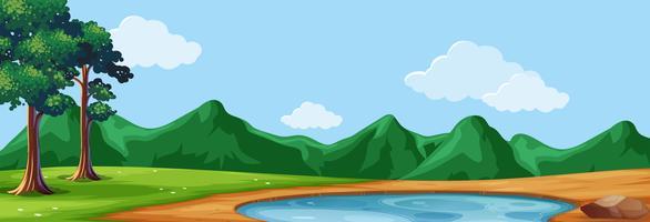 Hintergrundszene mit Bäumen und Teich vektor