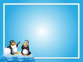 Grenzschablone mit zwei Pinguinen auf Eis