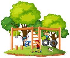 Pojkar leker på lekplatsen vektor
