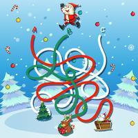 Weihnachtsmann-Labyrinth-Spielschablone