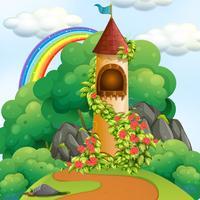 Ein Märchen-Turm aus Holz vektor