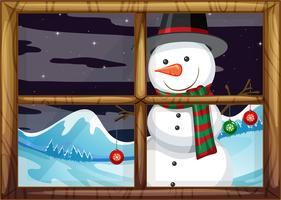 Ein Schneemann vor dem Fenster vektor
