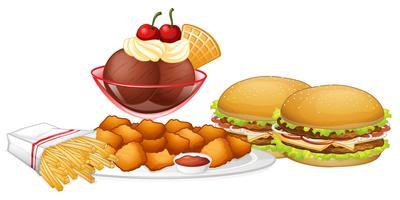 Satz von Junk Food vektor