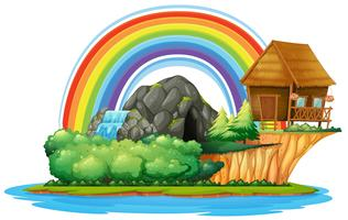 Hintergrundszene mit hölzerner Hütte und Wasserfall auf Insel vektor