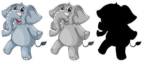 Sats av elefant karaktär
