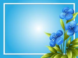 Gränsmall med blå blommor vektor