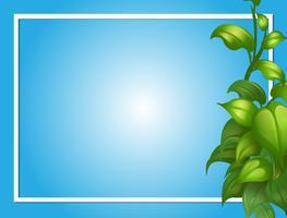 Grenzschablone mit grünen Blättern auf Seite vektor