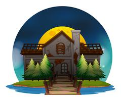 Gammalt hus på öken ö vektor
