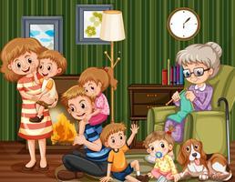Familj med barn och mormor i vardagsrummet