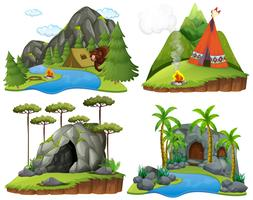 Fyra scener med björn på campingplatsen vektor