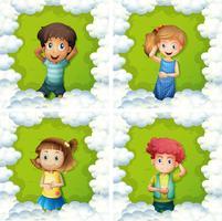 Vier Kinder auf grünem Gras vektor
