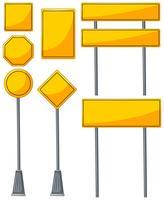 Olika utformningar av gula tecken