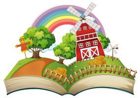 Buch mit Bauernhofszene zur Tageszeit