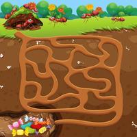 Labyrinth mit Ameisen und Süßigkeiten Konzept vektor