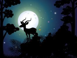 Ein Silhouette-Hirsch nahe vektor