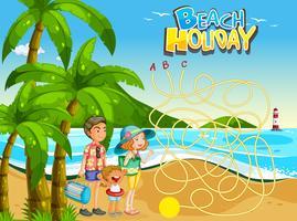 Sommar strand semester spel mall vektor