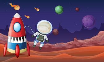 Raumthema mit dem Astronauten, der aus Raumschiff heraus fliegt