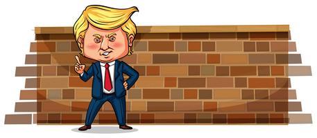 Redaktionell - Tecken skiss av Donald J. Trump, USA: s president, Janurary 2018