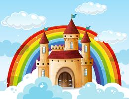 Ein schönes Schloss auf der Wolke vektor