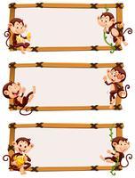 Vorlage mit drei Fahnen mit glücklichen Affen