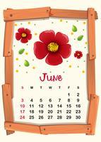 Kalendervorlage für Juni mit roter Blume