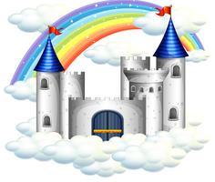 Ein Regenbogen über wunderschönem Schloss vektor