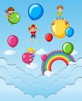 Lyckliga barn på färgglada ballonger i himlen