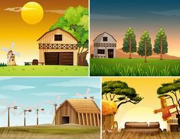 Vier Hintergrundszenen von Bauernhöfen vektor