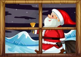 Santa leverans gåva utanför fönstret