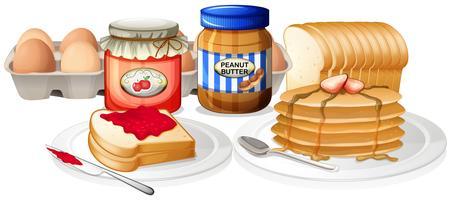 Hälsosam frukost på vit bakgrund
