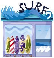 En surfbutik på vit bakgrund vektor