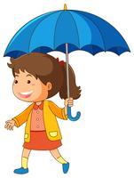 Mädchen, das blauen Regenschirm anhält