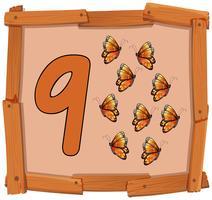Neun Schmetterling auf Banner vektor