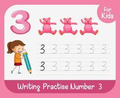 Nummer drei, die Alphabet-Arbeitsblätter verfolgen vektor