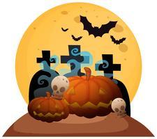 Tombstone i kyrkogård på Halloween