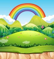 Ett berglandskap och regnbåge