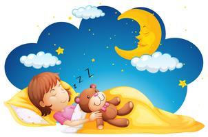 Liten tjej som sover med teddybjörn