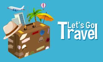 Reiseobjekt auf blauem Hintergrund