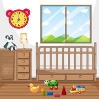 Barn sovrum med trämöbler