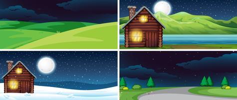 Set av naturlandskap på natten vektor