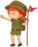 Girlscout i enhetlig hållflagga vektor