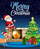Santa och hjort på julmall vektor