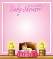 Hintergrunddesign mit dem Kind, das im Bett schläft
