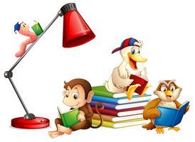 Djur läser bok isolerad vektor